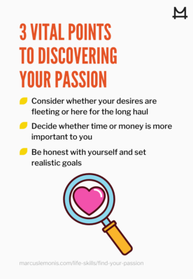 List of 3 points to discovering your passion
