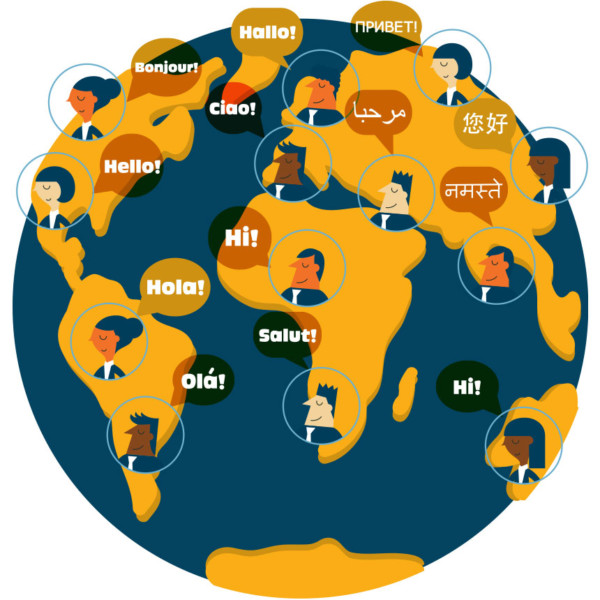 """Image of a globe with different faces across it saying """"hello"""" in different languages"""
