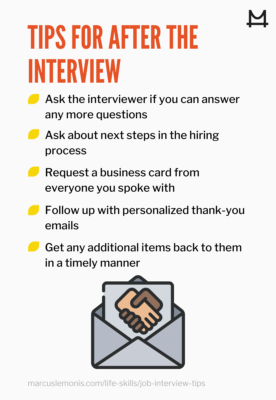 graphic outlining after job interview tips