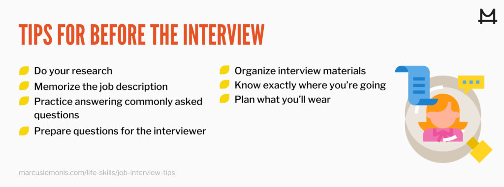graphic outlining before job interview tips