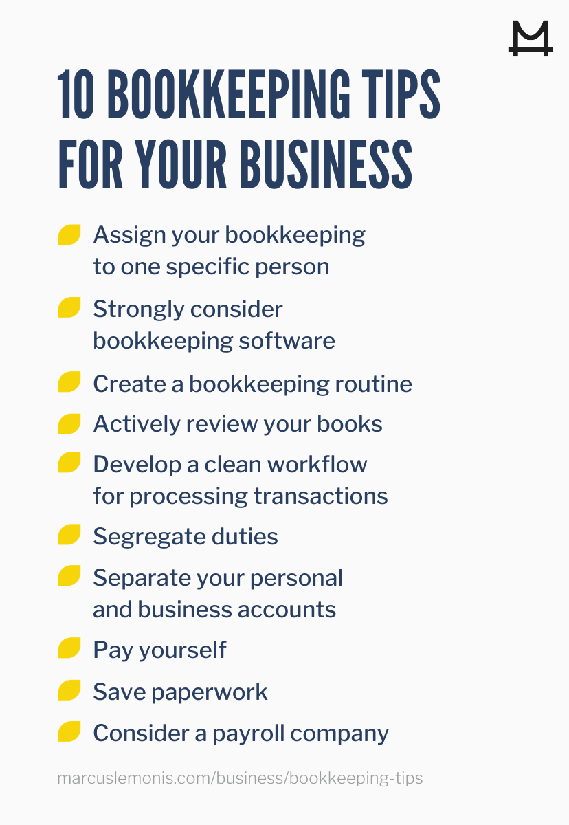 List of bookkeeping tips.