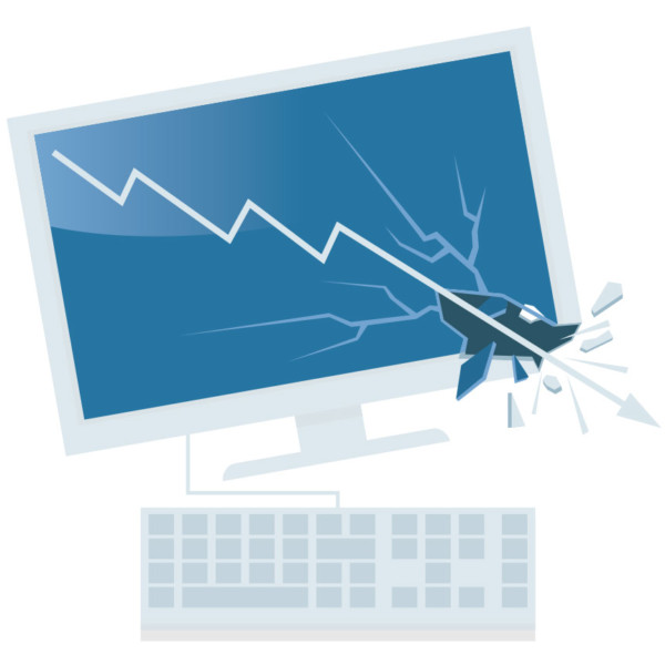 Image of a broken computer with an arrow going down through it.