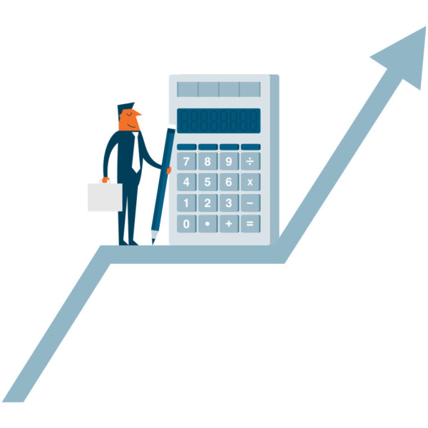 Image of someone on an arrow going up with a big calculator.