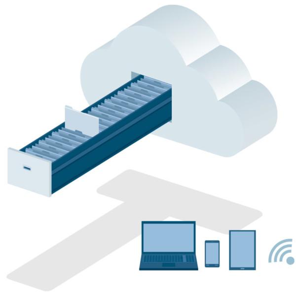 Image of a file cabinet shaped like a cloud.