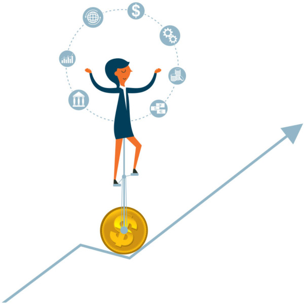Image of a person on a unicycle with a coin as the wheel