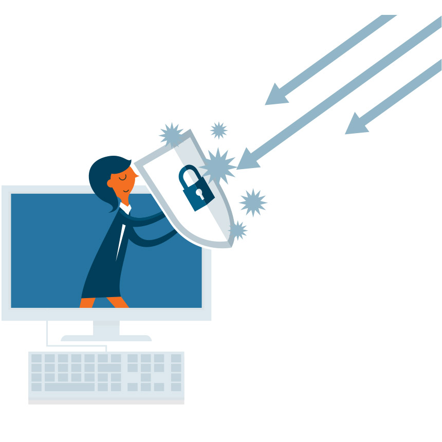 Image of someone holding a shield in a computer screen blocking arrows.