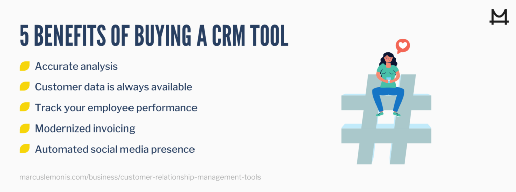 List of benefits to buying a crm tool.