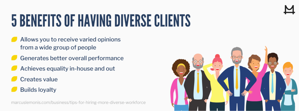 List of benefits to having diverse clients