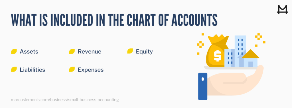List of everything included in the charts of accounts for your business