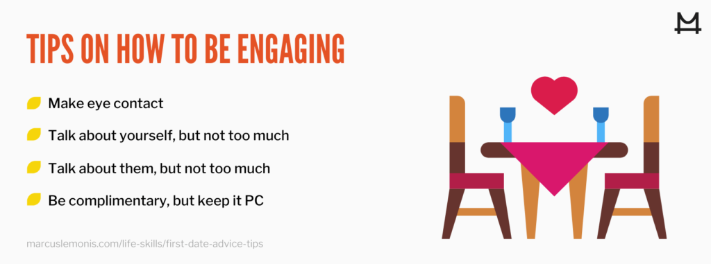 graphic sharing first date tips to stay engaged
