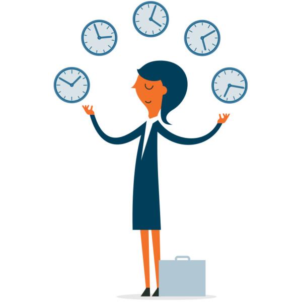 Image of someone juggling multiple clocks.