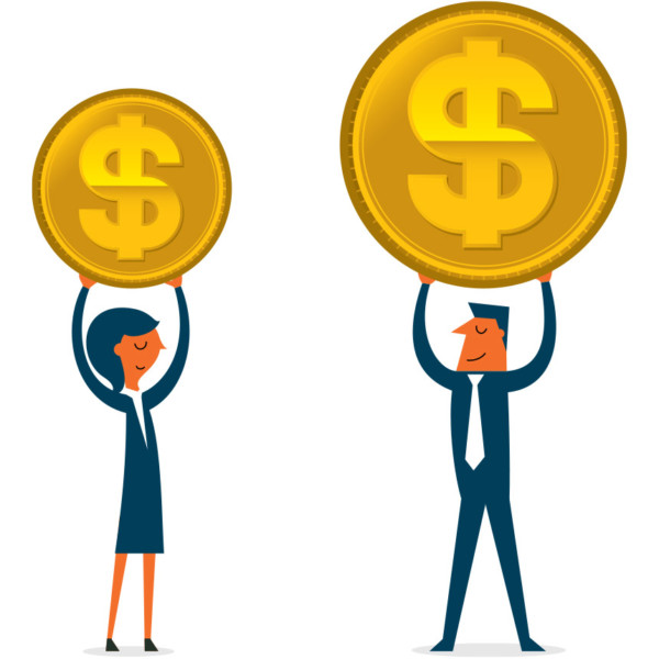 Man and woman holding large coins to compare them