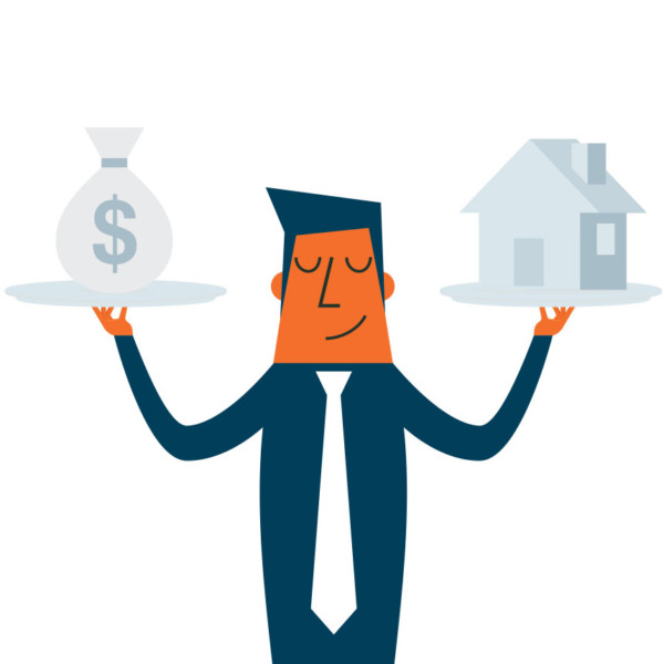 Man balancing his finances and his home through credit
