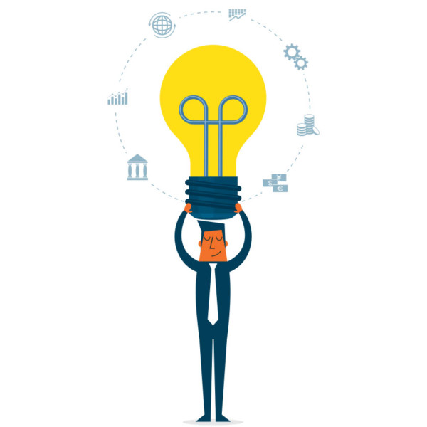 Man holding lightbulb surrounded by ideas