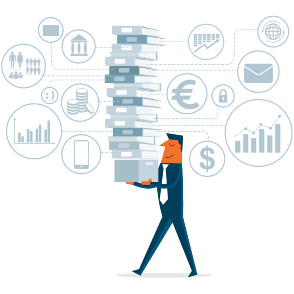 Man holding tall stack of books to learn about small business accounting