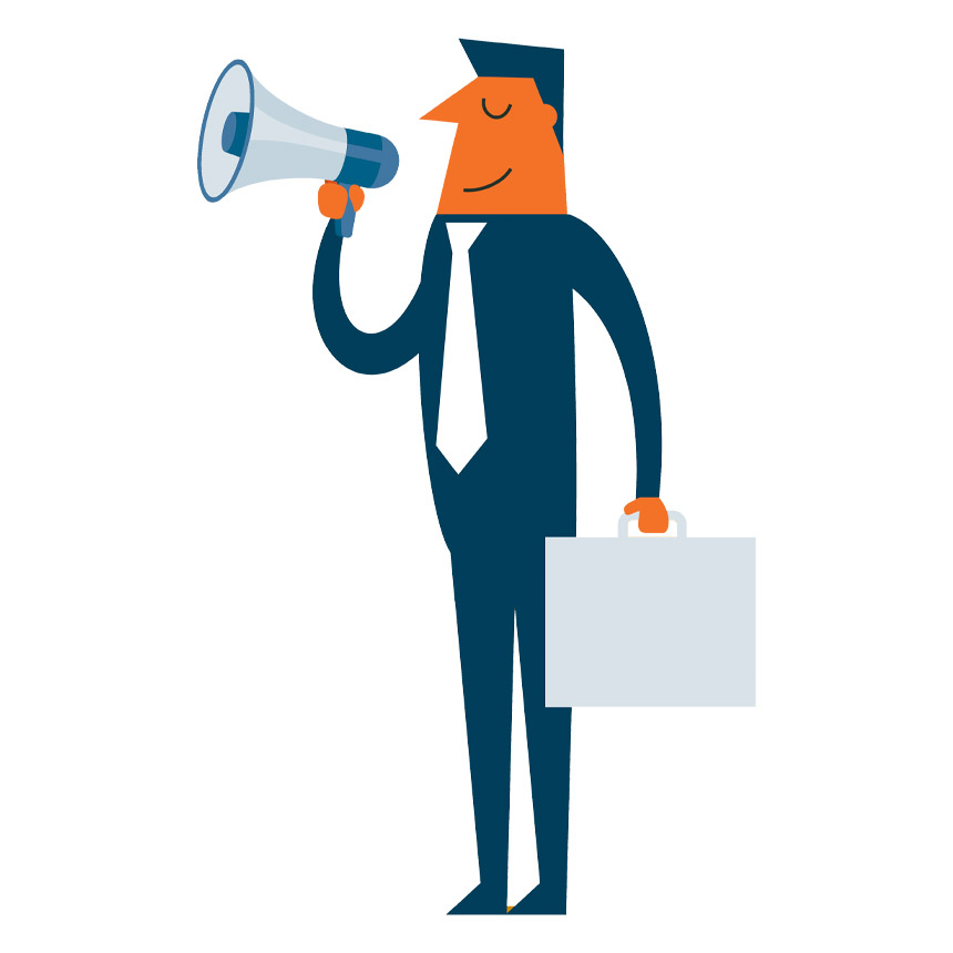 graphic of man using megaphone