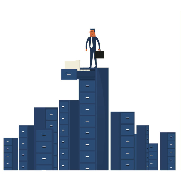 Man standing on top of tall filing cabinets with customer research ata inside