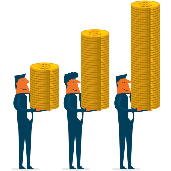 Men holding stacks of coins that are gradually growing from left to right