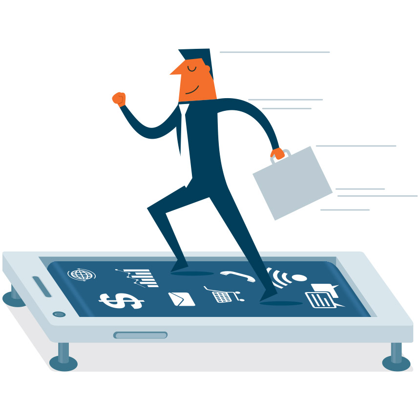 Image of someone with a briefcase running on top of a phone.