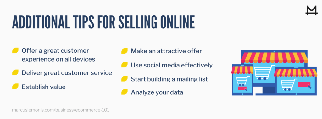 List of tips for selling online.