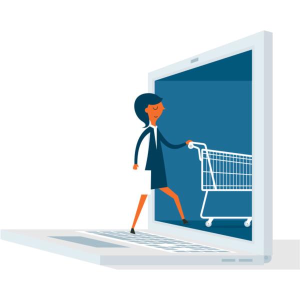 women shopping with a shopping cart through a computer
