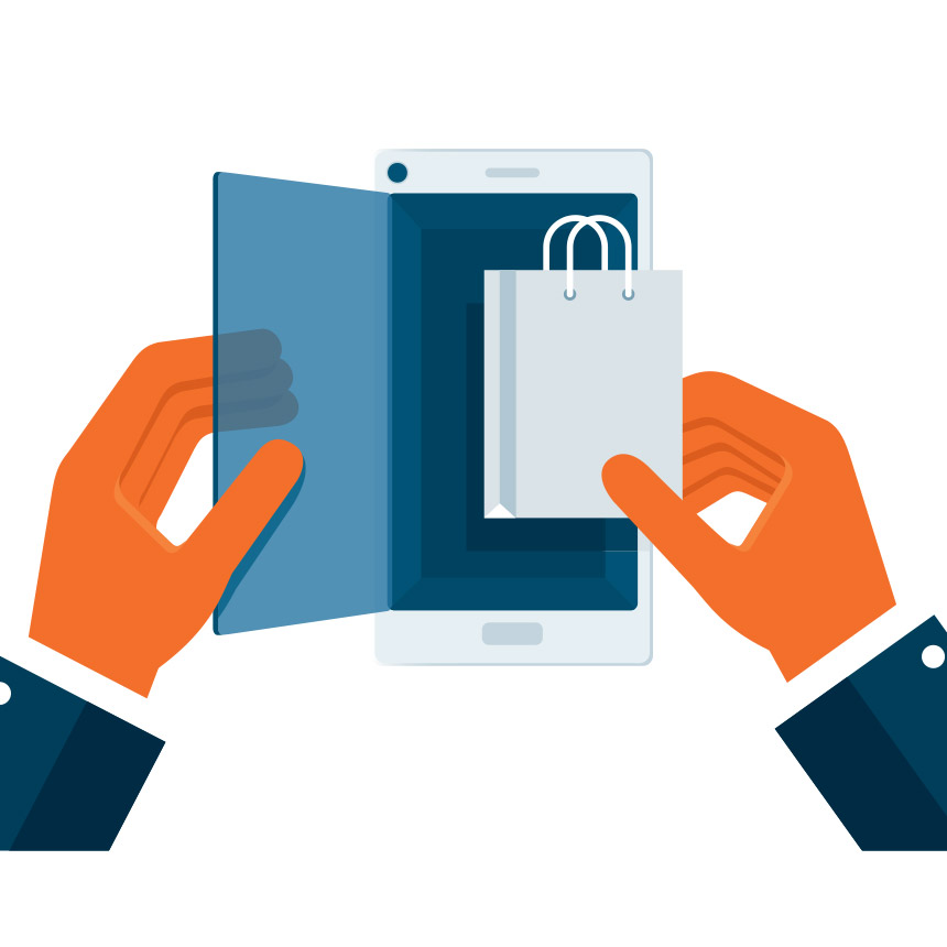 shopping via content marketing on their phone
