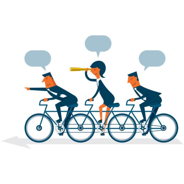 Image of three people on a long bike