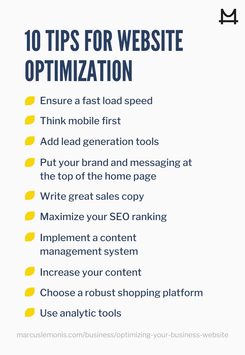 List of 10 tips for website optimization.
