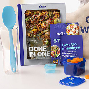 Weight Watchers products: spoon, books, food container
