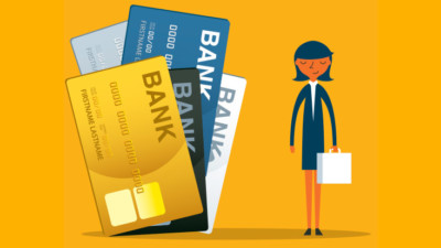 Image of a woman with 3 credit cards.