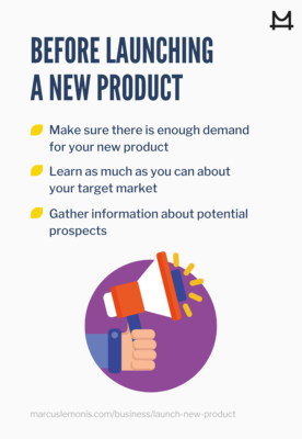 graphic outlining what to do before launching a new product