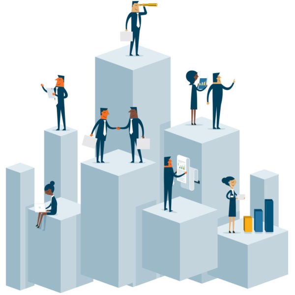 Image of people on block shaped towers working on various data