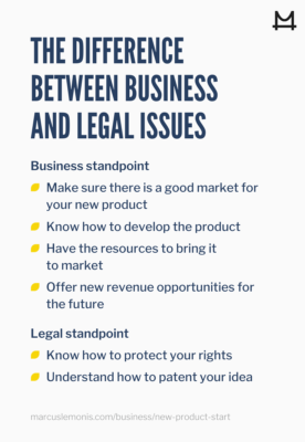 difference between business and legal issues regarding developing a product
