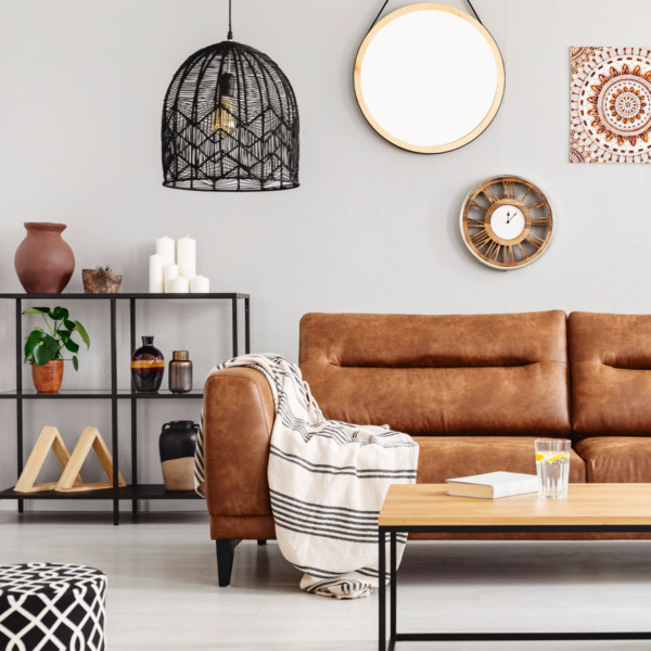 Image of contemporary living room and brown leather sofa