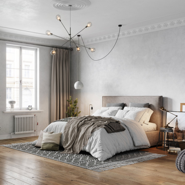 Image of gray bedroom with bed