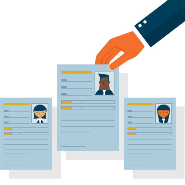 Image of a hand selecting a resume from a group