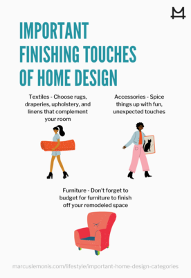 Infographic of 3 tips for home design finishing touches
