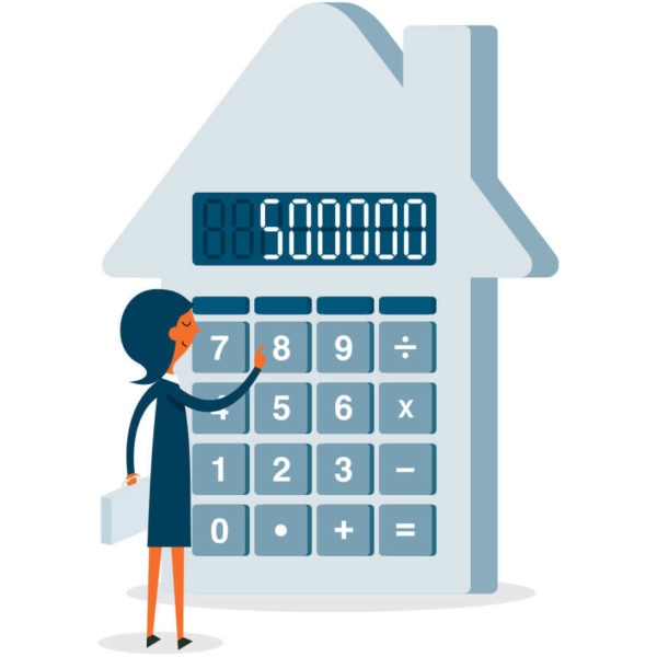 Image of someone using a large house shaped calculator