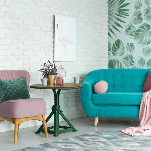 Image of mid-century modern living room and white sofa
