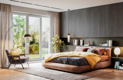 Image of modern masculine bedroom with sliding door to outside