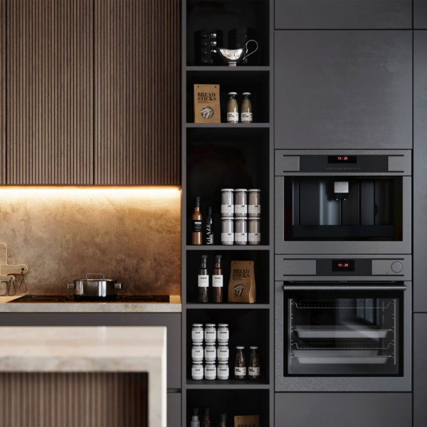 Image of Modern Kitchen with black appliances