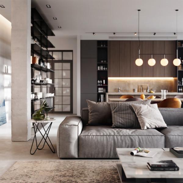 Image of Modern Home Design with Dark Brown Kitchen