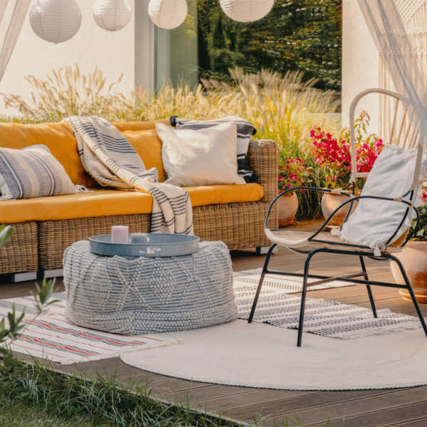 Image of outdoor living room and wicker furniture
