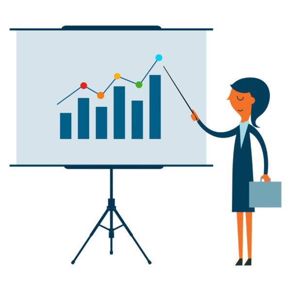 graphic of woman presenting for a new product launch strategy