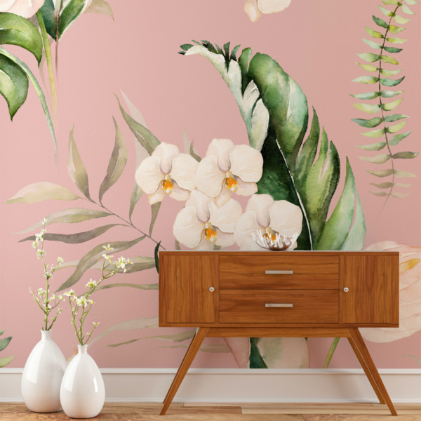 Image of retro wood foyer table with floral wallpaper in background