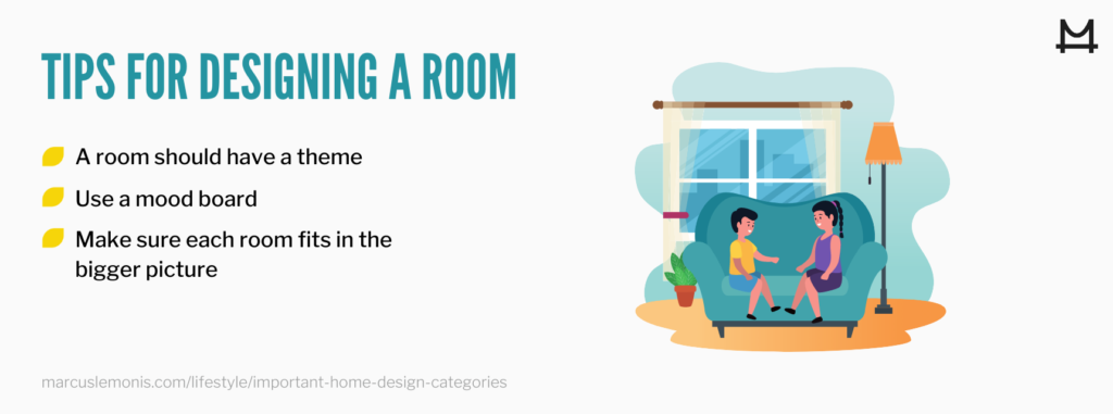 Infographic of 3 room design tips