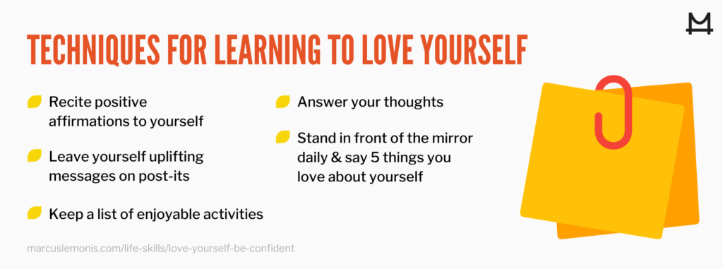 List of techniques for learning to love yourself