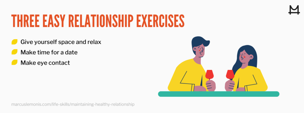 graphic of three easy relationship exercises