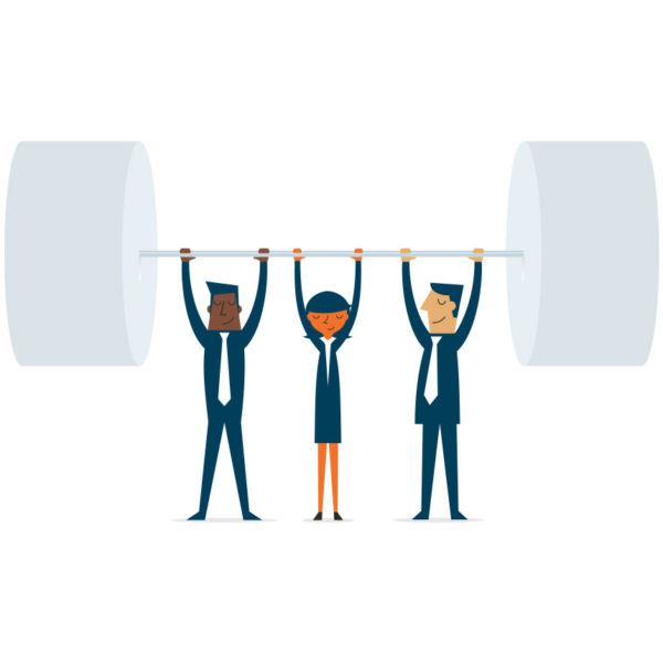 Image of three people lift a large weight