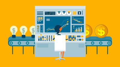 graphic of woman working on developing a new product